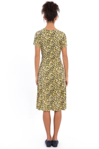 Rachel V-Neck Short Sleeve Midi with Smocked Detail at Waist and Shoulders Dress - Petite - Back