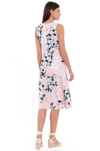 Lauren Floral Pleat Neck Midi Dress - Petite - Back