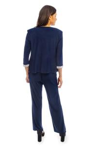 Three Piece Rhinestone 3/4 Sleeve Jacket and Pant Set - Petite - Back
