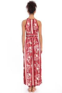 Parker Floral Stripe Halter Maxi Dress - Petite - Back