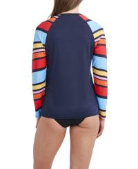 Nautica Stripe Swimsuit Rash Guard - Multi - Back