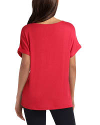 Isaac Mizrahi Short Dolman Sleeve V-Neck Knit Pullover - Tango Red - Back
