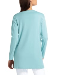 Isaac Mizrahi Long Sleeve Scoop Neck Overlapping Hem Pullover - Back