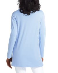 Isaac Mizrahi Long Sleeve Scoop Neck Overlapping Hem Pullover - Belair Blue - Back