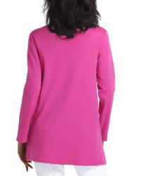 Isaac Mizrahi Long Sleeve Scoop Neck Pullover - Fuchsia / Red - Back