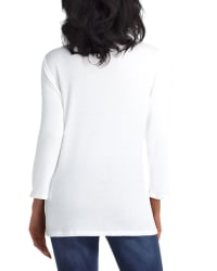 Isaac Mizrahi 3 Quarter Sleeve Henley Pullover - Chalk - Back
