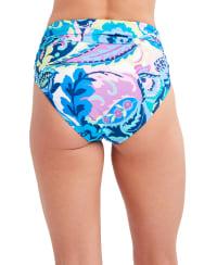 Tahari Paris Floral Hi Waist Swimsuit Bottom - Blue - Back