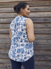 Roz & Ali Bijoux Blue Floral Jacquard Popover - Plus - Back