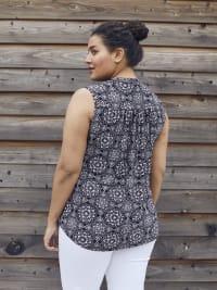 Roz & Ali Sleeveless Floral Medallion Print Popover - Plus - Black - Back