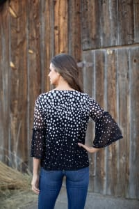 Roz & Ali Border Dot Bubble Hem Blouse - Black - Back