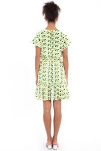 Audrey Drop Shoulder Jewel Neck Elastic Waist Ruffle Dress - Petite - Back