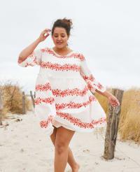 Vine Floral Babydoll Dress - Plus - Back