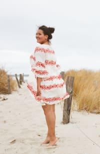 Vine Floral Babydoll Dress - Plus - Ivory / Coral - Back