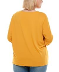 Asymmetric 3/4 Sleeve Top - Plus - Golden Glow - Back