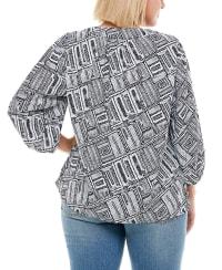 Henley 3/4 Sleeve Blouse - Plus - Dot Spiral - Back