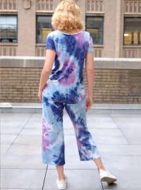 Magenta Tie Dye Wide Leg Capri - Misses - Magenta/Navy - Back