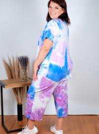 Violet Tie Dye Wide Leg Capri - Plus - Violet/Blue - Back