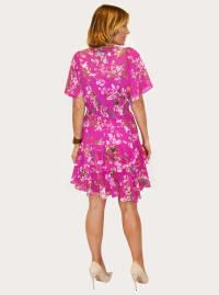 Taylor Floral Print V-Neck Chiffon Dress - Back