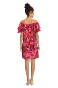 Denise Off the Shoulder Floral Ruffle Dress - Petite - Back