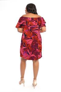 Denise Off the Shoulder Floral Ruffle Dress - Plus - Back