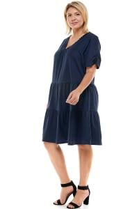 Tiered Smock Neck Dress - Plus - navy - Back
