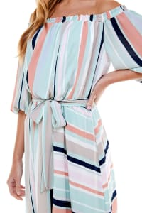 Summer Fun Stripe Dress - Misses - mint/orange/pink - Back
