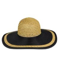 Adrienne Vittadini Cutout Contrast Brim Straw Floppy Hat - Back