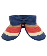 Striped Bow With Adjustable Straw Visor - Back
