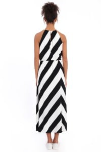 Hallie Blouson Halter Maxi with Front Slit Dress - Petite - Back