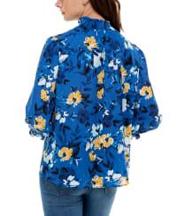 Adrienne Vittadini Three Quarter Puff Sleeve Polyester Smocked Neck Blouse - Back
