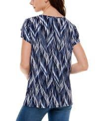 Adrienne Vittadini Short Tulip Sleeve Round Neck Top - Back