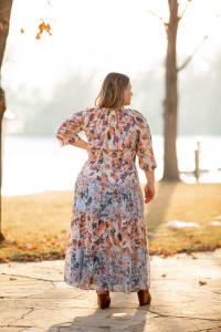 Veronica Blue Floral Peasant Dress - Plus - Blue/Natural - Back