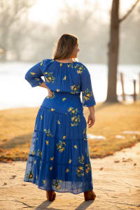 Royal Embroidered Texture Peasant Dress - Plus - Back
