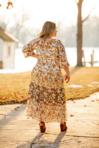 Veronica Mixed Print Peasant Dress - Plus - ivory/gold - Back