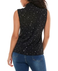 Adrienne Vittadini Sleeveless Draped Scarf V-Neck Top - Back