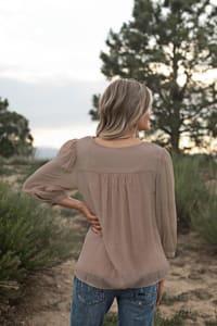 Lace Yoke Textured Blouse - Back