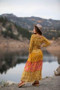 Veronica Golden Floral Maxi Peasant Dress - Back