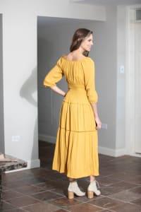 Mustard Clip Dot Maxi Peasant Dress - Misses - Mustard - Back