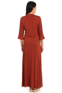 Sienna V-Neck Dolman Sleeve Kaftan Dress - Back