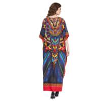 Blue Polyester Maxi Kaftan Dress - Plus - Blue - Back