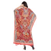 Red Wide Sleeve Maxi Kaftan Dress - Plus - Red - Back