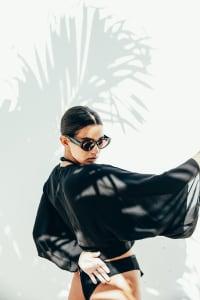 Kimono Wrap Top - Black - Back