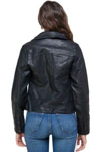 Kaii Double Buckle High-Neck Vegan Leather Biker Jacket - Back