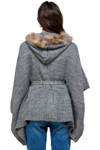 Kaii Hooded with Fur Trim Pancho Sweater - Back