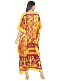 Yellow Kaftan Long Maxi Dress - Plus - Back