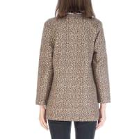 Faux Suede Open Front Long Sleeve Jacket - Back