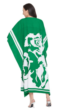 Handmade Polyester Maxi Kaftan Dress - Plus - Back