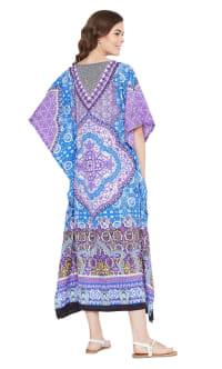 Blue And Purple Polyester Maxi Kaftan Dress - Plus - Back