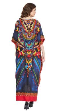 Blue Polyester Maxi Kaftan Dress - Plus - Back