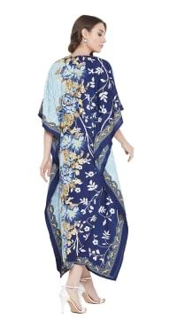 Blue Handmade Maxi Kaftan Dress - Plus - Back